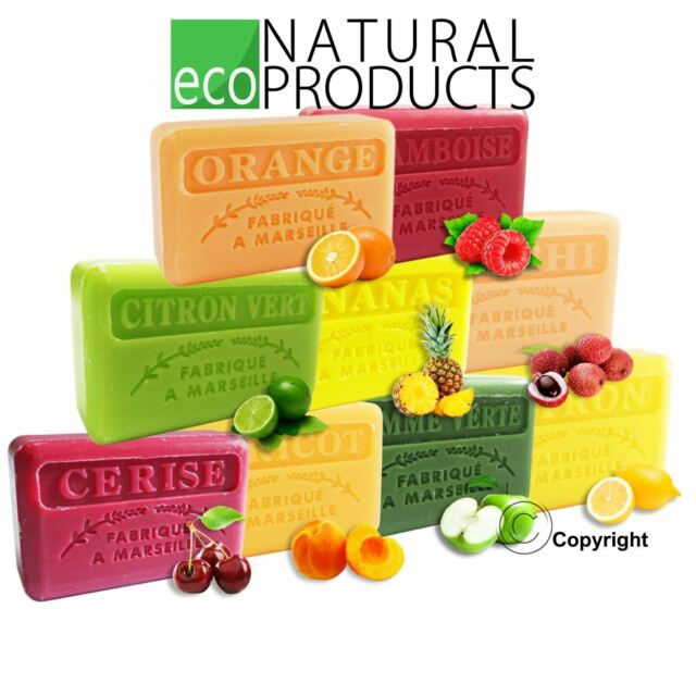Savon de Marseille Natural French Soap with Organic Shea Butter Genuine FRUITS