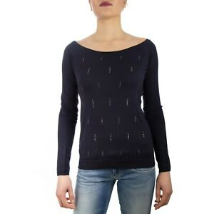Liu Jo Maglieria M19153MA36A Maglia T-Shirt da Donna Scollo Bardot Blu -20%