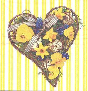 Lot de 2 Serviettes en papier Pâques Oeuf Fleurs Decoupage Collage Decopatch