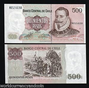 CHILE-500-PESOS-P153-2000-FLAG-MILLENNIUM-UNC-LATINO-CURRENCY-MONEY-BANK-NOTE