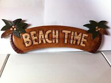 """HOME DECOR PALM TREE SIGN """"BEACH TIME"""" HAND CARVED NEW!"""