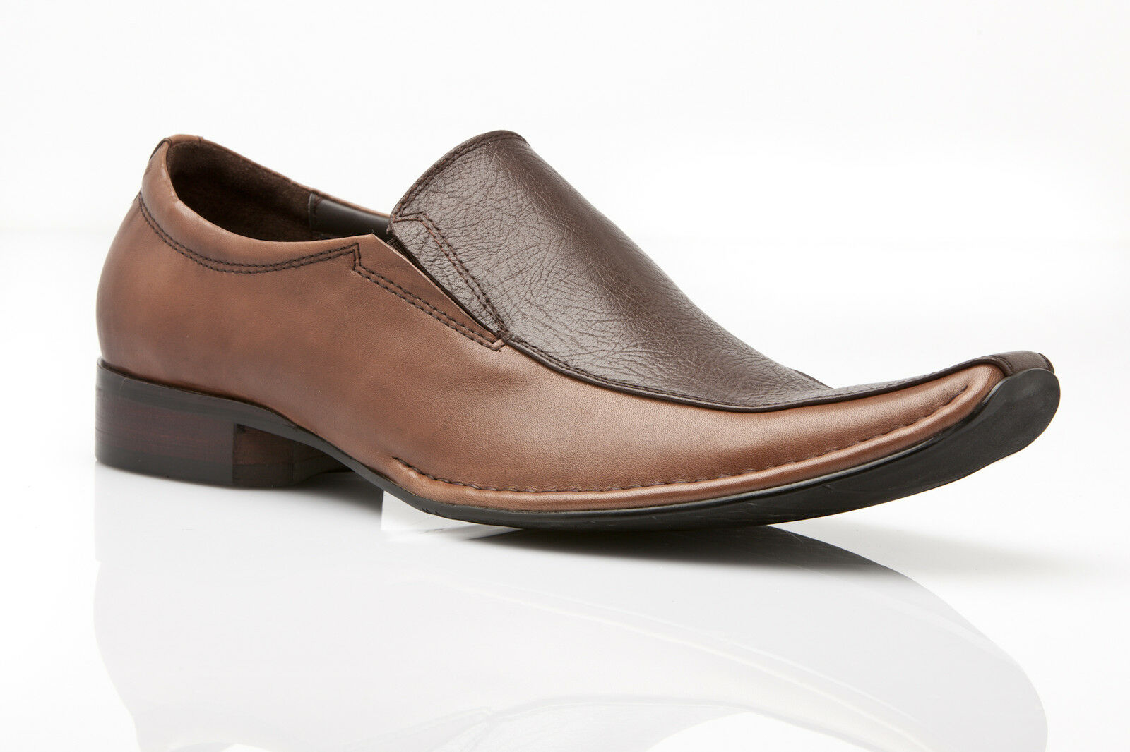 MENS BROWN  DRESS COFFEE LEATHER SLIP ON FORMAL CASUAL SHOES WEDDING - LAWRENCE