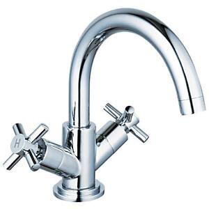 X-Head-Swivel-Spout-Chrome-Bathroom-Basin-Sink-Mixer-Taps-amp-Plug-Waste-xd-6107