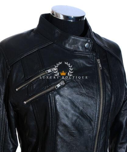 motociclista Lohan in donna Giacca moda in da vera donna pelle nera da stile pelle PzzdqUxwn