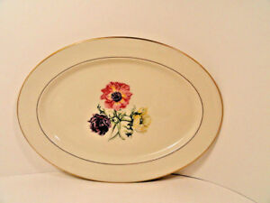 Lamberton-China-Wildlflower-Platter-14-In-Gilt-Trim-Mint-Condition-1940-1950-039-s