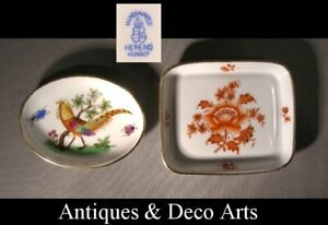 Herend-2-Porcelain-Bowls-with-Pheasant-resp-Flower