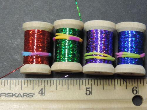 LOT C 4 ASST 48 Yds Spools Extra Thin Flat Holographic Tinsel Flash Ribbing