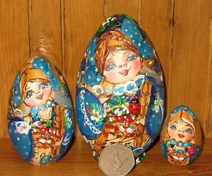 Russian-Nesting-Matryoshka-SMALL-BLUE-GOLD-EGG-Dolls-Pyrography-3-Mamayeva-GIFT