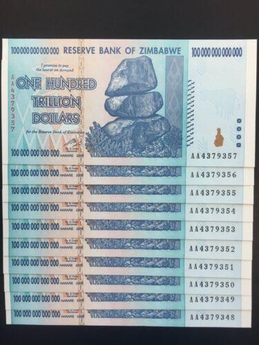 One Zimbabwe 100 Trillion Dollars P91 AA 2008 UNCIRCULATED Pick 91
