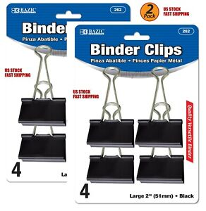 51mm 2 Pack 4//Pack Black Binder Clips Tackle any Task Home Office Large 2/""