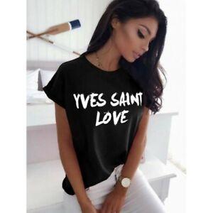 Femme-Femmes-a-manches-courtes-034-Yves-Saint-Love-034-Slogan-T-shirt-imprime-Tee-Tops-New