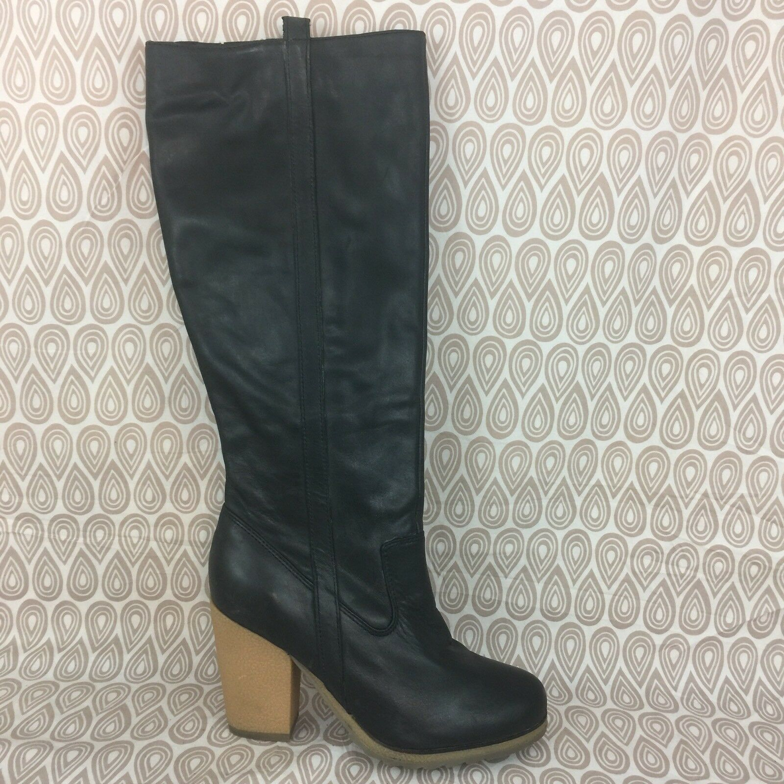 Me Too Maxine Knee High Block M Heel Boot Size 7.5 M Block Black Leather Side Zip S334 8233a8
