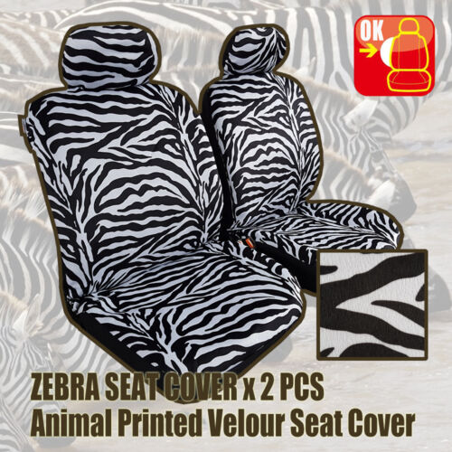 Pair New Universal Animal Design Suede Velour Zebra Leopard Tiger Seat Covers