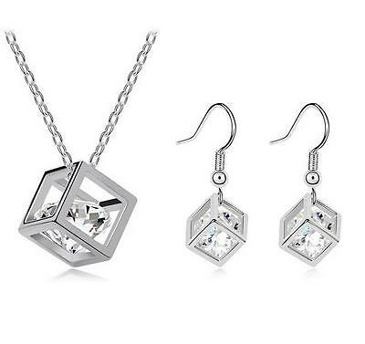 New products Wholesale Fashion Cube Necklace Earrings White 18K Gold jewelry Set