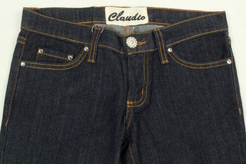 Waschung Verziert 5 Größe Dunkle Claudio Milano Kristall Jeans Damen Bootcut IH92YWED