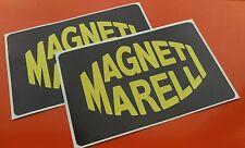 2 MAGNETI MARELLI Black Yellow Racing Car decals Rally Motorbike 165mm x 105mm
