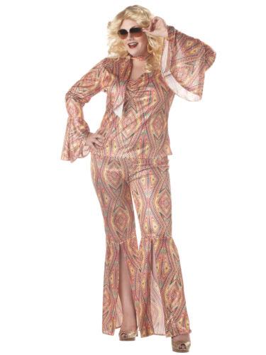 Discolicious 1960s 1970s Disco Hippie Hippy Dancing Fox Womens Costume Plus