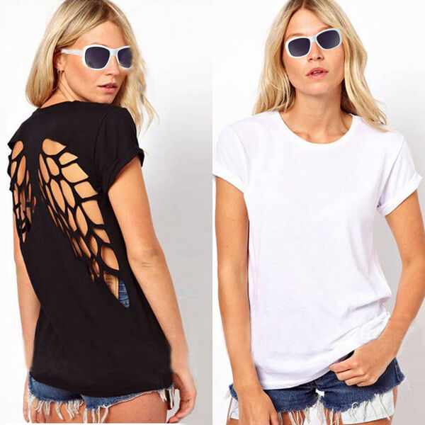 FREE Sexy Open Back Hollow Cut Out Backless Angel Wings Loose T Shirt Blouse Top