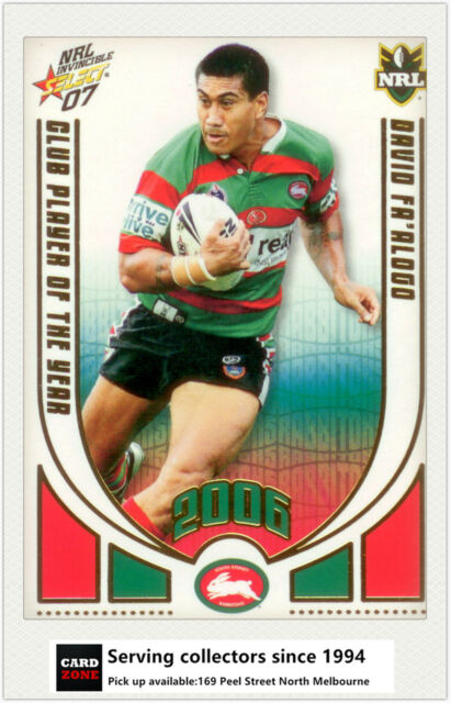 2007 Select NRL Invincible Club Player Of The Year CP12 D. Fa'Alogo (Rabbitohs)