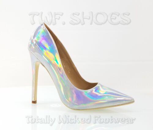 "CR Priscilla Silver Hologram Pointy Toe Pump 4.5/""  High Heel Shoes 7-11"
