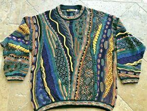 Seven-Oaks-3d-Strick-100-Baumwolle-Coogie-Style-Bill-Bill-Cosby-mehrfarbige-80-039-s-Pullover-L