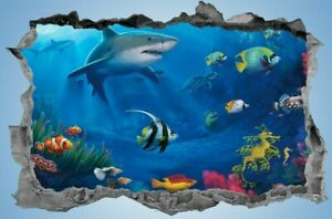 Tropical,Fish,Sticker,Decal,Shark,Decor,3d,Sea Life,Wall Art,Mural