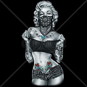 sexy gangsta marilyn monroe bandana tattoo pop culture t shirt tee ebay. Black Bedroom Furniture Sets. Home Design Ideas