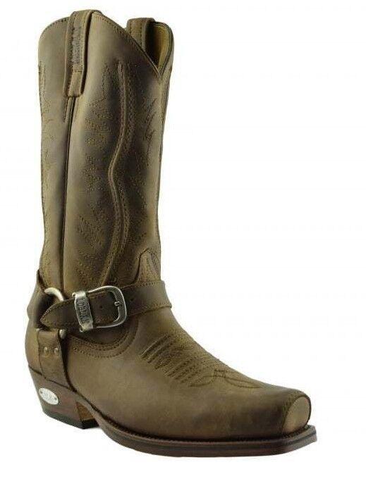 Loblan 2618 Braun Waxy Leder   Herren Cowboy Cowboy Herren Stiefel Classic Biker Hand Western c7b01e