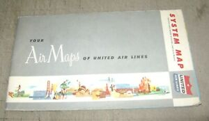 1956 UNITED  AIRLINES System Map - Great Graphics - Coast to Coast & onto Hawaii