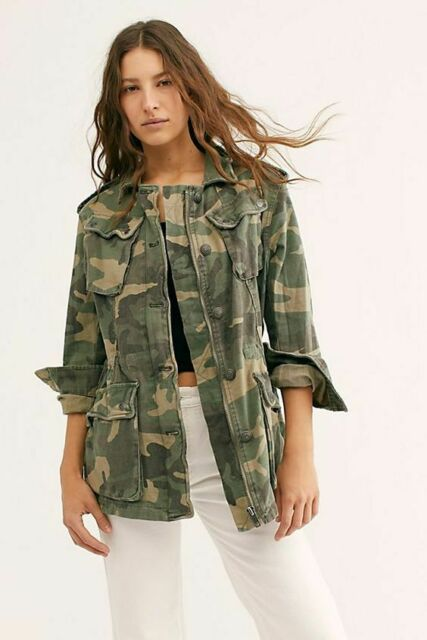Free People Camo Not Your Brothers Surplus Jacket Military Army Green OB500801