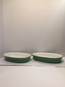 CorningWare 2 FRENCH WHITE Grass GREEN Stoneware 23-oz OVAL DISHES
