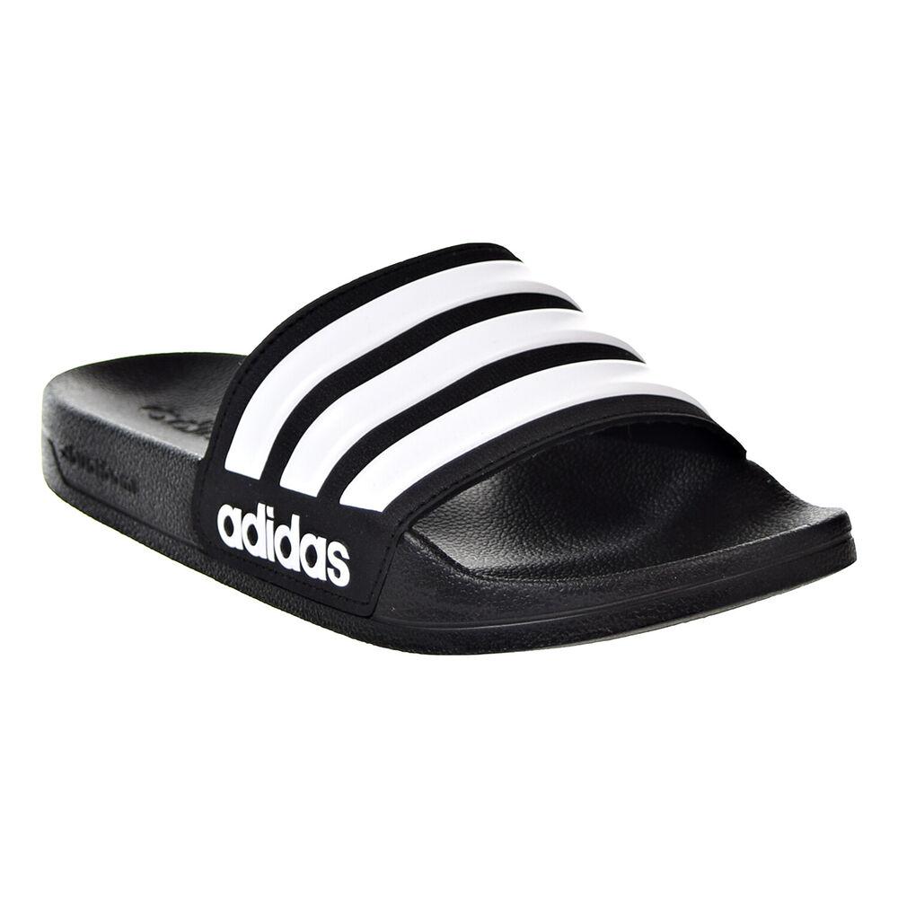 Le Meilleur Adidas Hommes Sandales Slides Sandals Cloudfoam Rayures Noires Plage Gym Nouveau Aq1701
