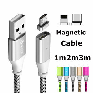 1-3m-Magnetic-Cable-Charger-Type-C-IOS-Micro-USB-Charging-Sync-Cable-Adapter-Lot