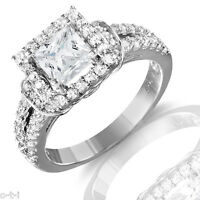 Princess Cut Simulated Diamond Genuine Rhodium Sterling Silver Engagement Ring