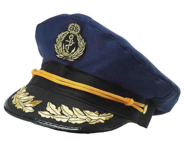 Adult Captain Hat Navy Cap Blue Gold Captains Sailor Mens Womens for ... 8d61e0feb341
