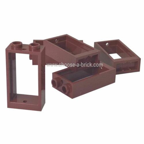 10 NEW LEGO Window 1 x 2 x 3 Flat Front Reddish Brown