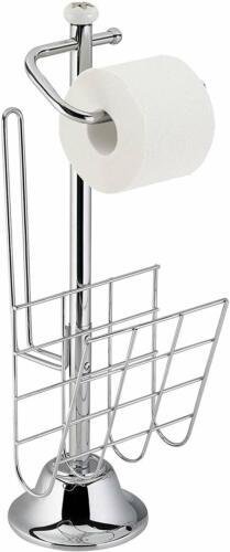 axentia Toilettenpapierhalter freistehend mit Zeitungsständer Rollenhalter mit