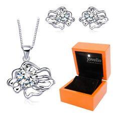 Schmuckset aus 925 Silber Sternzeichen Löwe Halskette Ohrstecker + LED Holzbox