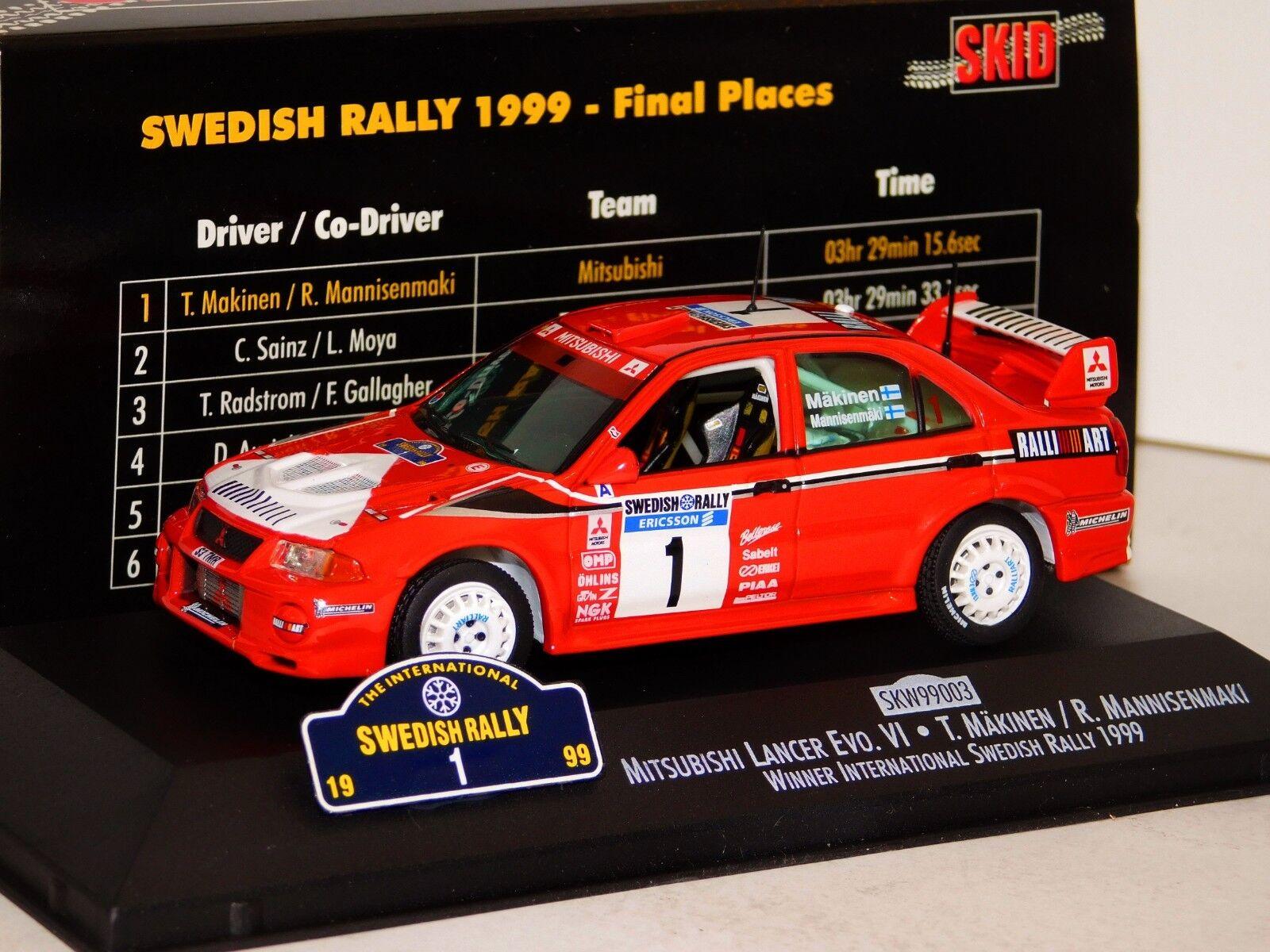 MITSUBISHI LANCER VI MAKINEN WINNER WINNER WINNER RALLY SWEDEN 1999 SKID SKW99003 1 43 0b4e8c