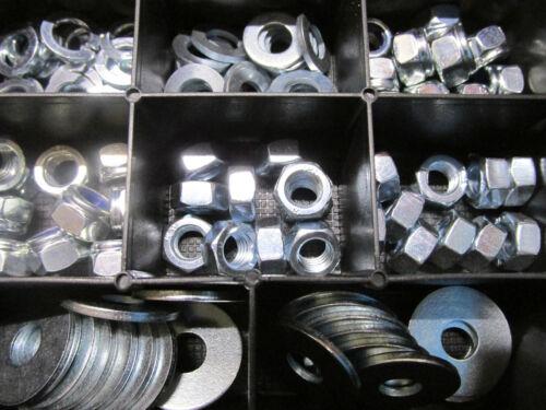 100 Teile Federringe Muttern,Stopmuttern BOX M7 Sortiment Härte 8,8 Scheiben