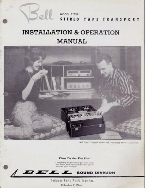 Bell Model T-238 Tape Transport Operation Manual Exquise (On) Vakmanschap