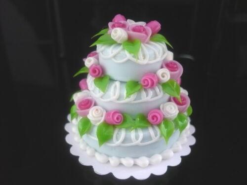 Blue Wedding Cake Dollhouse Miniatures Food Barbie