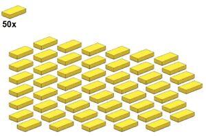 Used-LEGO-Smooth-Parts-Yellow-3069b-03-1x2-50Stk-Fliese-Gelb