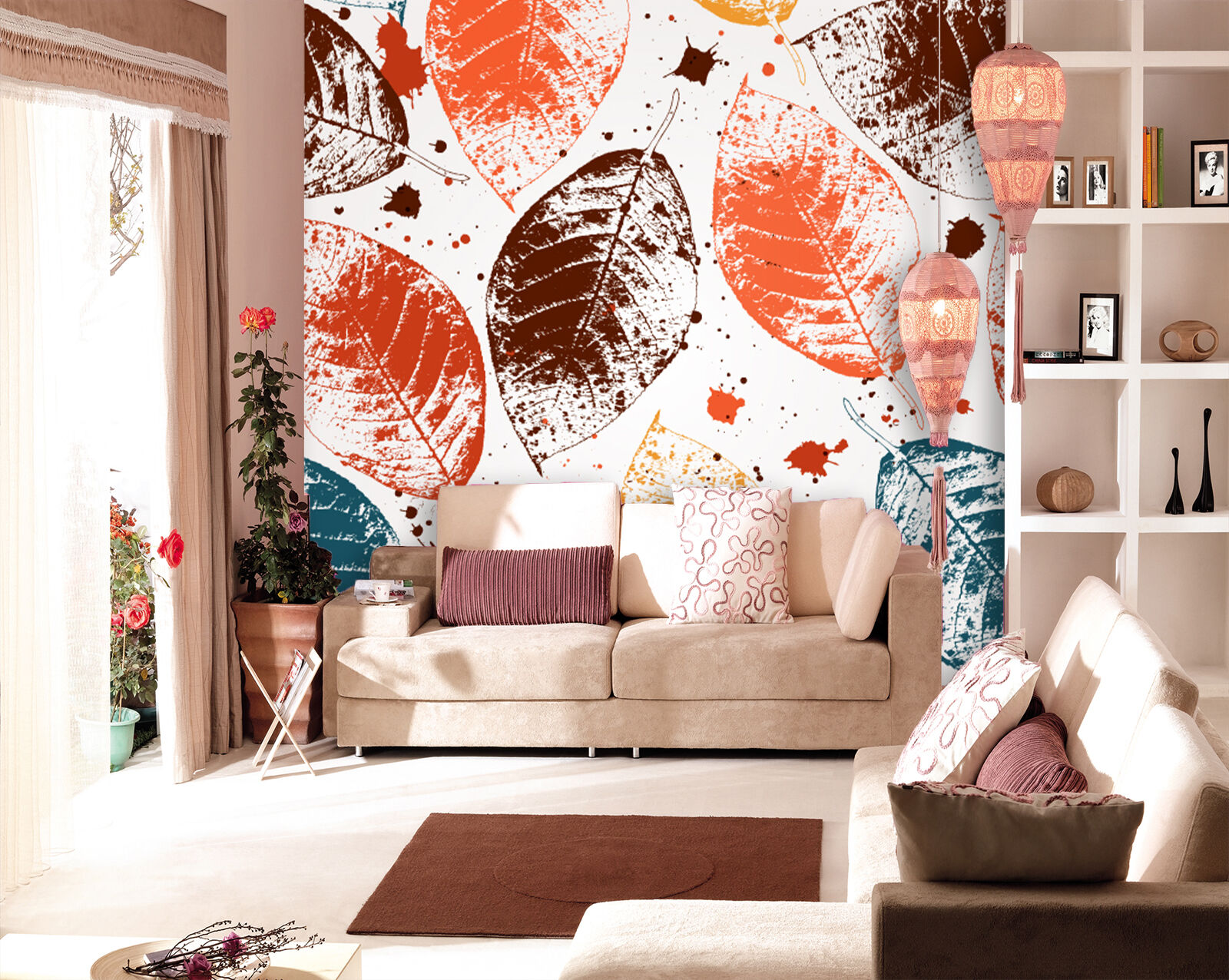 3D pigment Farbeful leaf Wall Paper wall Print Decal Wall Deco Indoor wall Mural
