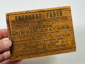 Antique-Eberhard-Faber-Hexagon-Lumber-Crayons-Wood-Wooden-Pencil-Box-WOW