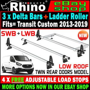 Low-Roof-Twin-Rear-3x-Rhino-Bars-Roof-Rack-and-Rear-Roller-Ford-Transit-Custom