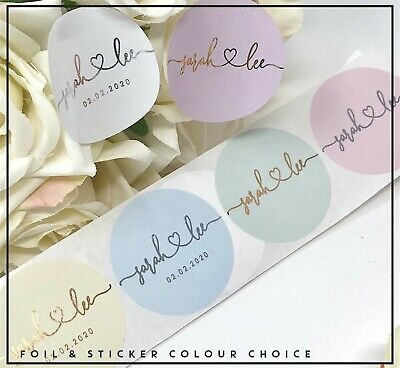 Love stickers Transparent personalise Gold Silver or Rose Gold foil Wedding 24