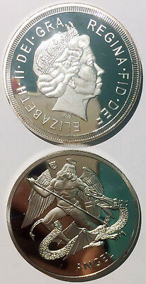 Queen Angel kill dragon silver plated 41mm magnetic medal token coin proof UNC