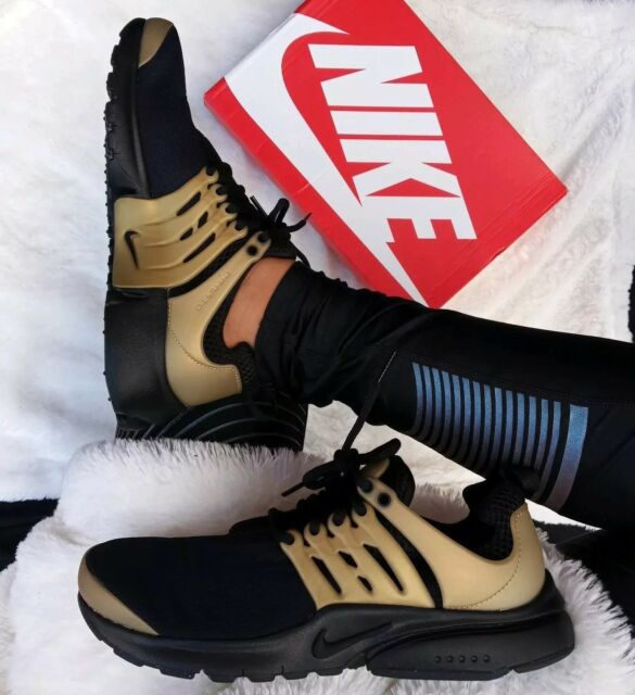 differently 4aeda df0b2 7Y   8.5 WOMEN S NIKE AIR PRESTO BLACK METALLIC GOLD RUNNING CASUAL  COMFORTABLE