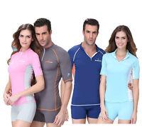 630b Surfing Sun Protect Swimwear Rash Guard Short Sleeve Top Shirt & Shorts Set